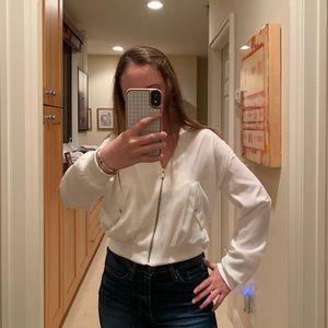 Zara White Bomber Jacket